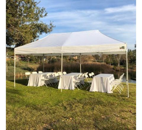 10X20 Canopy, 3 Tables with Linen & 18 Chairs Rental in San Diego