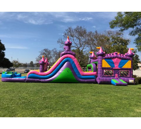 4 In 1 Dual Lane Pink Water Slide Combo (SKU W447)