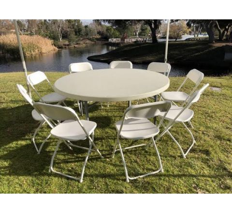 Round Party Table with 9 Chairs Package Rental in San Diego
