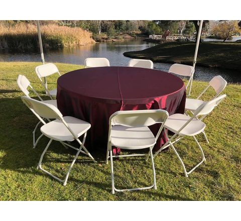 Round Party Table with Linen & 9 Chairs Package Rental in San Diego